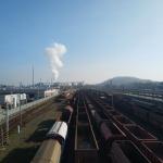 Widok zestacji kolejowej